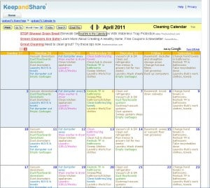 cleaning calendar added to website sheri graham helping you live